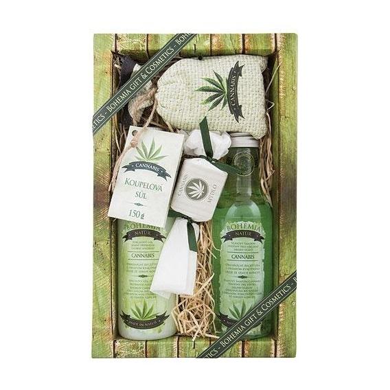 Cannabis dárkové balení - premium - sprchový gel + vlasový šampon + mýdlo + sůl
