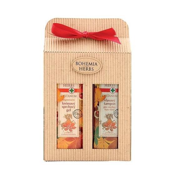 Bohemia Bylinky - Castanum - darčekové balenie - sprchový gel a vlasový šampón s kôň gaštan
