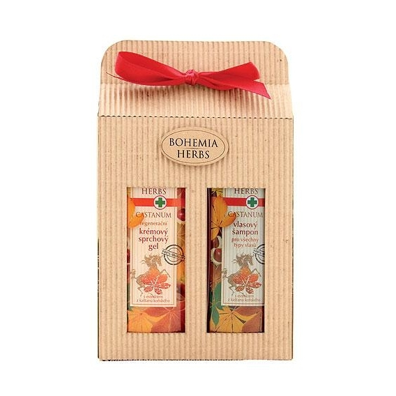 Bohemia Herbs - Castanum - dárkové balení - sprchový gel a vlasový šampon - s koňským kaštanem