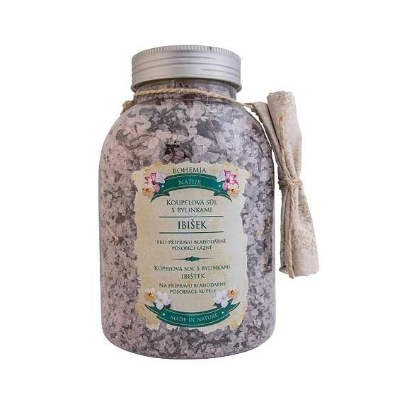 Bohemia Natur - kúpeľové soli s bylinkami 1200 g - relaxačné s ibiškem