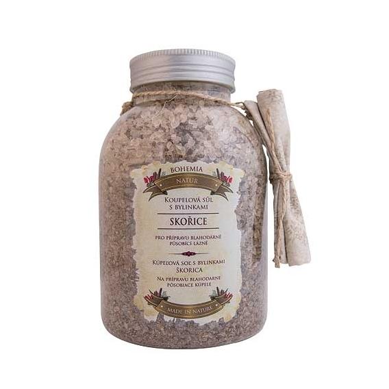Bohemia Natur - koupelová sůl s bylinkami 1200 g - se skořicí a akátem - v dóze