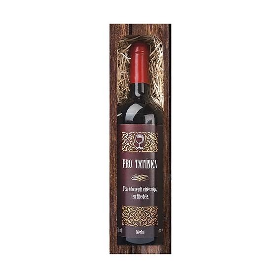Bohemia Gifts - červené víno 0,75 l pro tatínka - Merlot