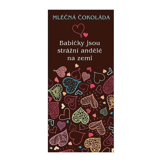 Bohemia Gifts - dárková mléčná čokoláda 100 g - babičce