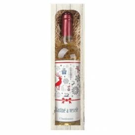Bohemia Gifts - vánoční víno 0,75 l - Šťastné a veselé (Chardonnay)