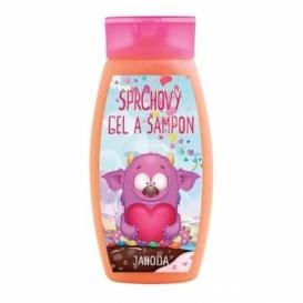 Bohemia Gifts - Příšerky - dětský sprchový gel a šampon 250 ml - jahoda
