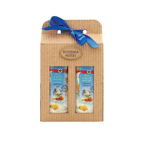 Darčekové balenie s medom a kozím mliekom - sprchový gél a vlasový šampón