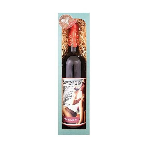 Bohemia Gifts – červené víno 0,75 l Merlot - Partnerka pro večer