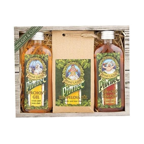 Pivní kosmetika Pivrnec – sada - gel, koupelová sůl a šampon