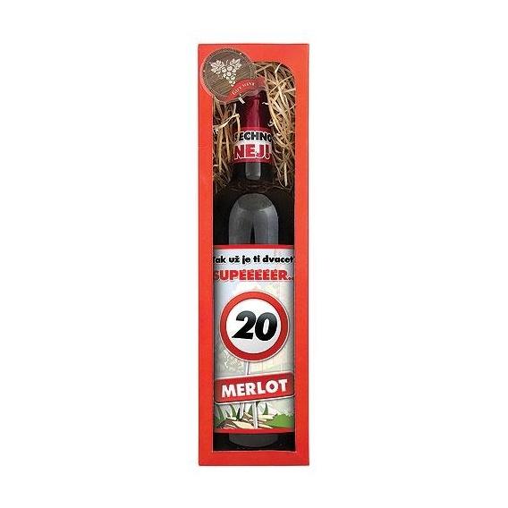 Darčekové červené víno Všetko naj k 20. - Merlot 750 ml