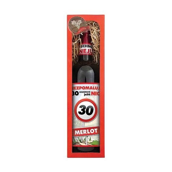 Darčekové červené víno Všetko naj k 30. - Merlot 750 ml