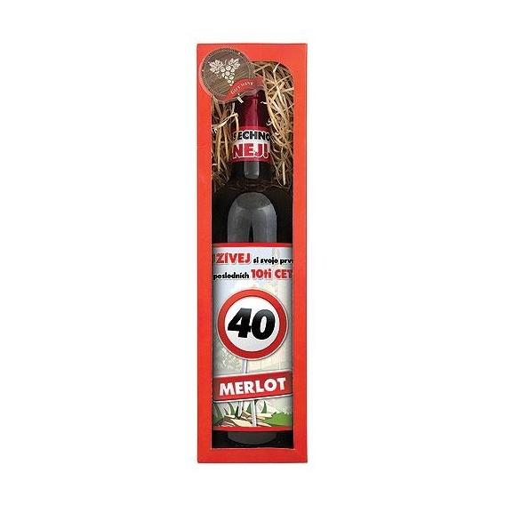 Bohemia Gifts - dárkové víno k 40. narozeninám 0,75 l - Vše nej - červené Merlot