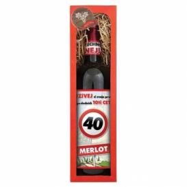 Darčekové červené víno Všetko naj k 40. - Merlot 750 ml