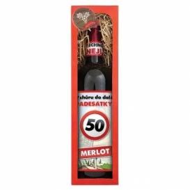 Darčekové červené víno Všetko naj k 50. - Merlot 750 ml