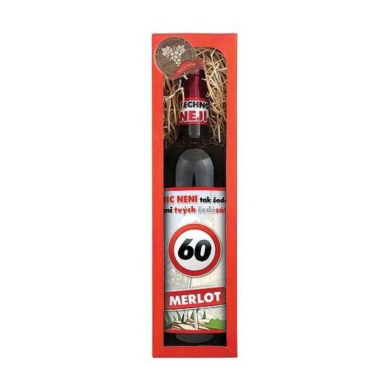 Darčekové červené víno Všetko naj k 60. - Merlot 750 ml
