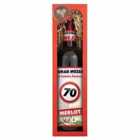 Darčekové červené víno Všetko naj k 70. - Merlot 750 ml