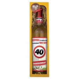 Darčekové biele  víno v krabičke 750 ml - Chardonnay - Všetko najlepšie 40