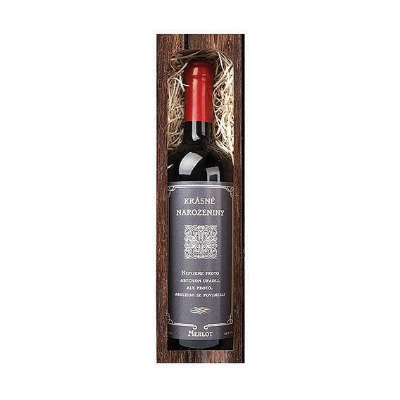 Darčekové červené víno Krásne narodeniny - Merlot 750 ml