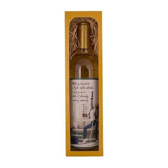 Bohemia Gifts - bílé víno 0,75 l Chardonnay – dvě decinky