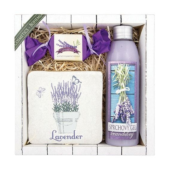Kosmetika levandule - dárkové balení - gel + mýdlo + dekorace
