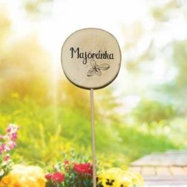 Bohemia Gifts - dřevěné zapichovátko k bylinkám - majoránka