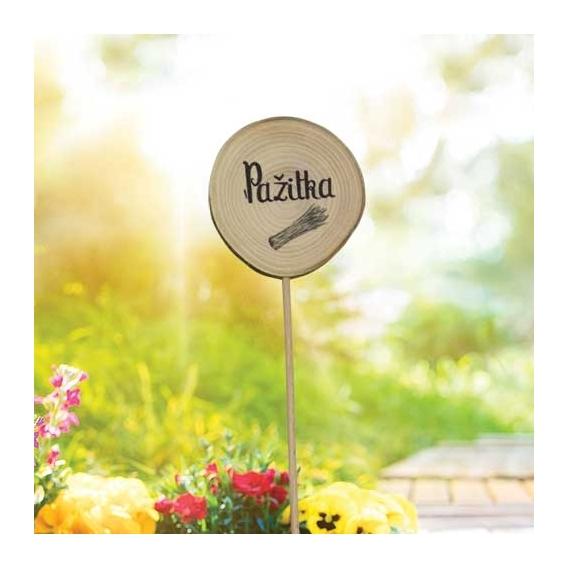 Bohemia Darčeky - drevené zapichovátko bylín - pažítka