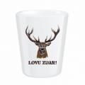 Darčekový porcelánový pohárik pre poľovníka - LOVU ZDAR farebný