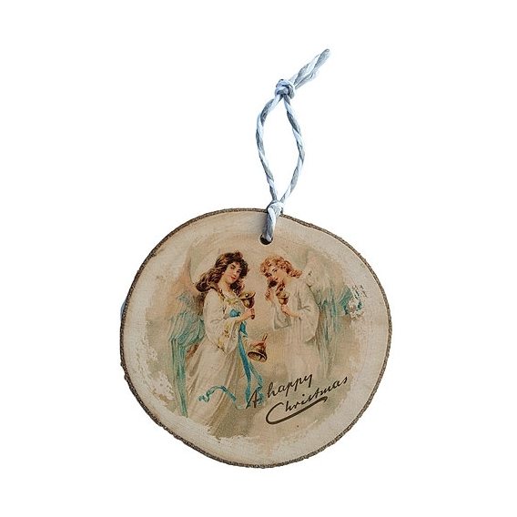 Bohemia Gifts - dřevěná vánoční ozdoba - andělé se zvonky