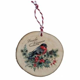 Bohemia Gifts - dřevěná vánoční ozdoba - ptáček