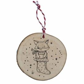 Bohemia Gifts - dřevěná vánoční ozdoba - punčocha a liška