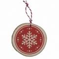 Bohemia Gifts - dřevěná vánoční ozdoba - vločka - červená