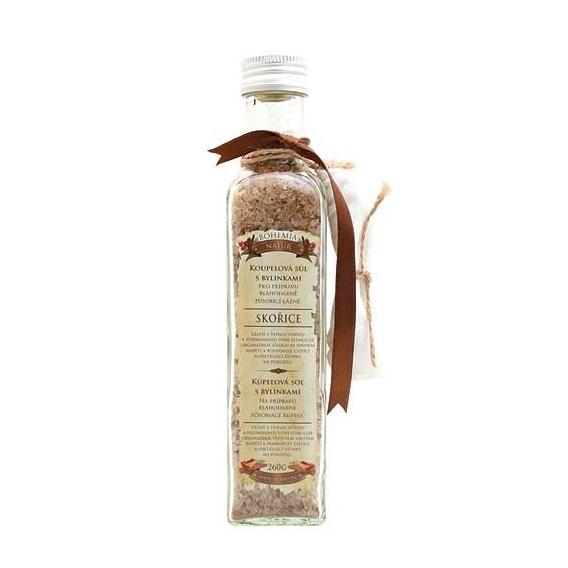 Soľ do kúpeľa s bylinkami so škoricou v skle 260 g