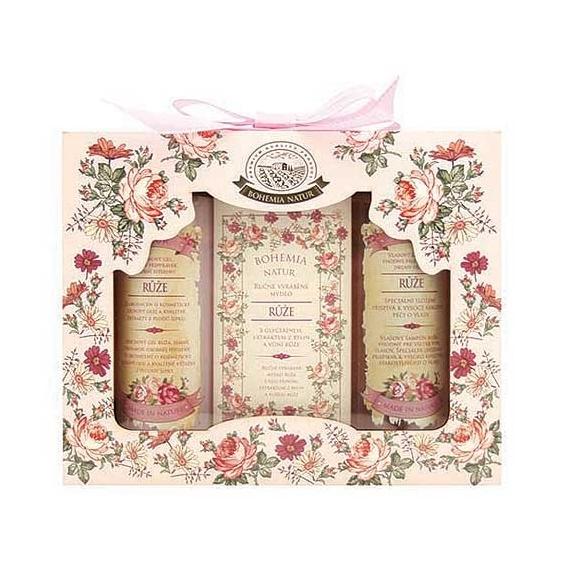 Bohemia Natur dárkové balení kosmetika - růže - gel + mýdlo + šampon