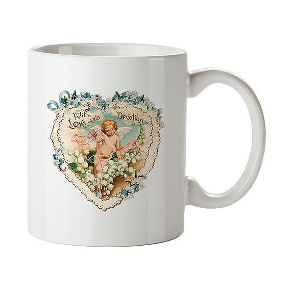 Bohemia darčeky - keramický hrnček 350 ml - anjel a srdce