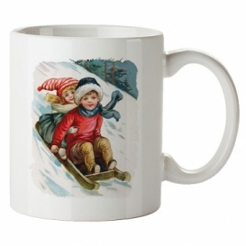 Bohemia Gifts - keramický hrnek 350 ml - děti na saních