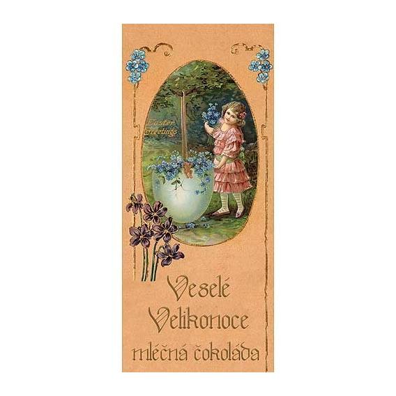 Bohemia Darčeky - mliečna čokoláda 100 g - veselú veľkú noc - dievča s kvetinami