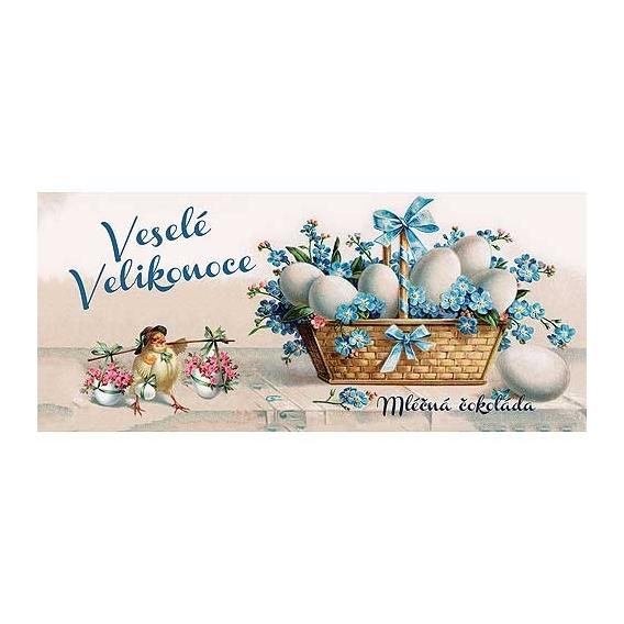 Bohemia Darčeky - mliečna čokoláda 100 g - Šťastné Veľkonočné košík s vajíčkami