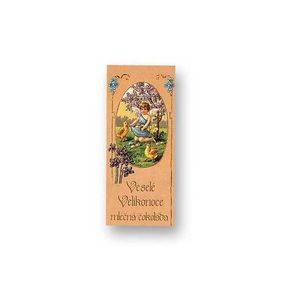 Bohemia Darčeky - mliečne čokolády, 10 g - veľká noc - anjel s kurčiat dieťa