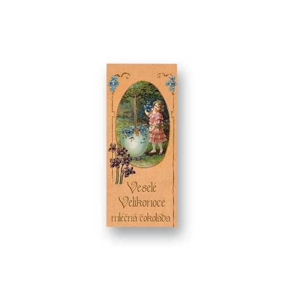 Bohemia Darčeky - mliečne čokolády, 10 g - veľká noc - dievča a modré kvety