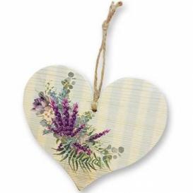 Bohemia Gifts – dekorační dřevěné srdce 13 cm - levandule