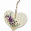 Bohemia Darčeky – dekoratívne drevené srdce 13 cm - levanduľa
