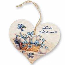 Bohemia Gifts - dřevěné srdce 13 cm - Velikonoce vajíčka