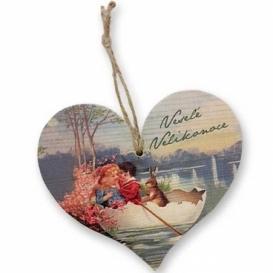 Bohemia Gifts - dřevěné srdce 13 cm - Velikonoce - děti