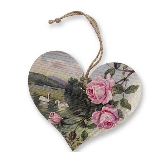 Bohemia Darčeky – dekorácie drevené srdce 13 cm – rose a labute