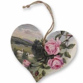 Bohemia Gifts – dekorace dřevěné srdce 13 cm – růže a labutě