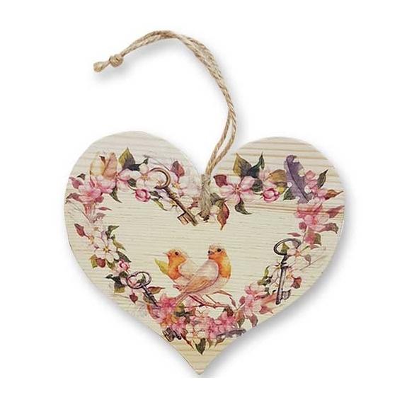 Bohemia Darčeky – dekoratívne drevené srdce 13 cm – vtáky
