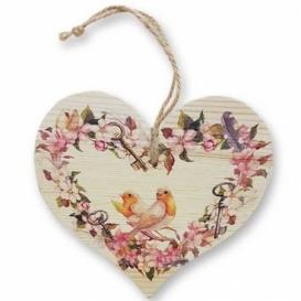 Bohemia Gifts – dekorační dřevěné srdce 13 cm – ptáčci