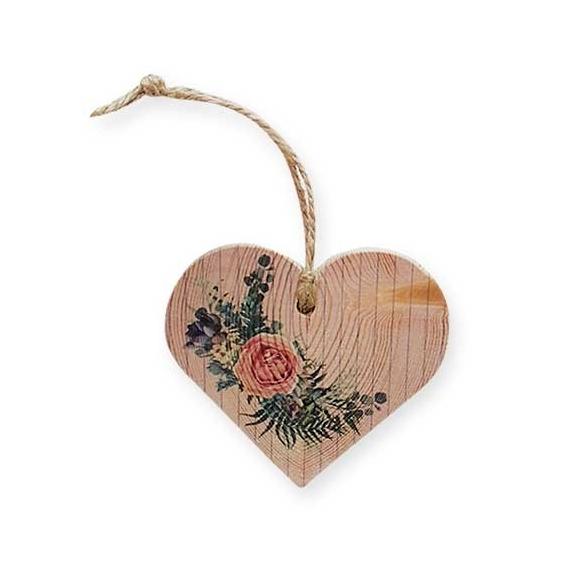 Bohemia Darčeky - drevené srdce 7,5 cm - rose