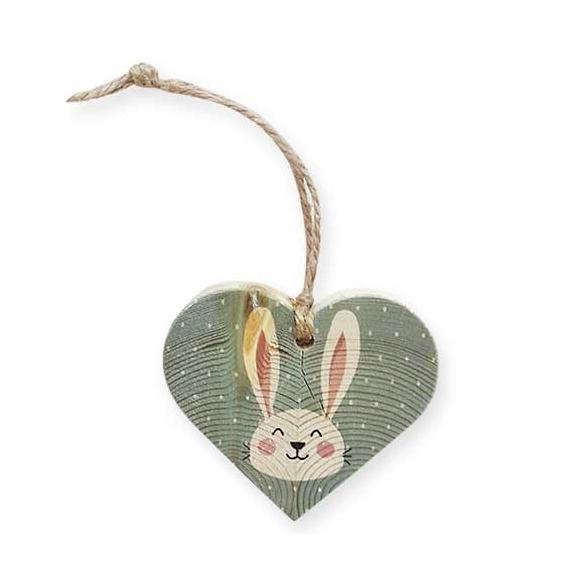 Bohemia Darčeky - drevené srdce 7,5 cm - veľkonočný zajačik