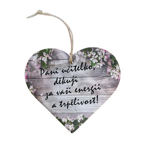 Bohemia Darčeky - drevené srdce 13 cm - pre učiteľov