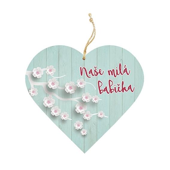 Bohemia Darčeky – dekoratívne drevené srdce 13 cm – babička